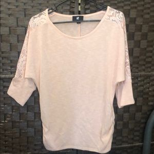 Lacy long sleeve pink shirt